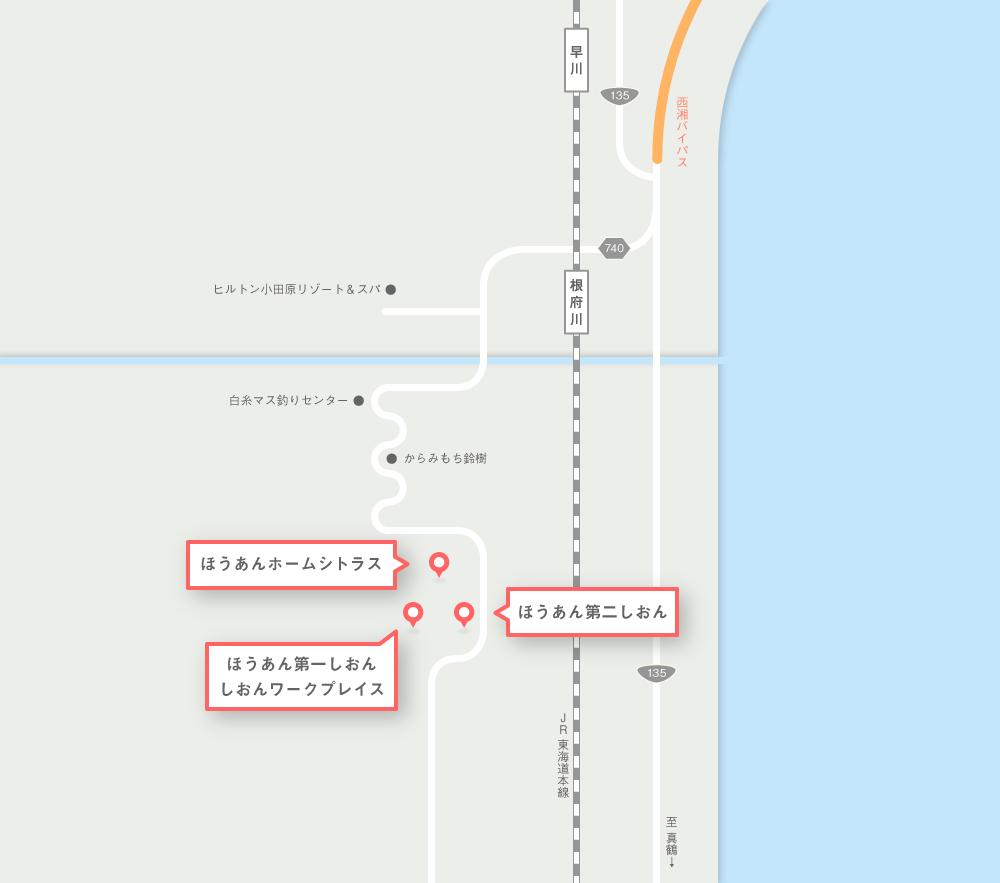 根府川エリアのアクセスマップ