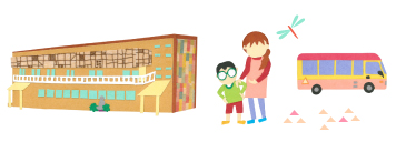 建物と子どもと先生のイラスト