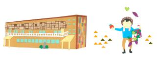 建物と農作業をする利用者さんのイラスト