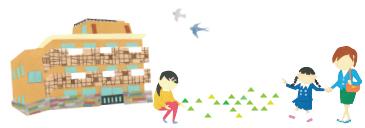 園の建物、子ども、お母さん、先生のイラスト