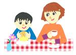 カフェで食事をする親子の切り絵