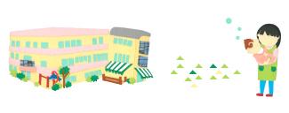 園の建物、子ども、先生のイラスト